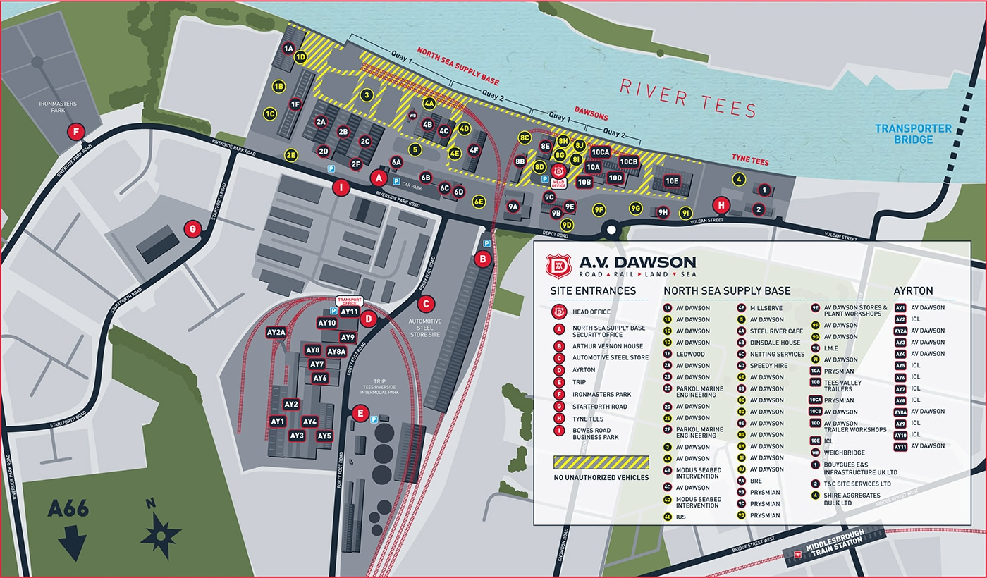 Port of Middlesbrough Site Map